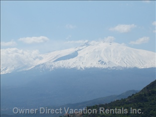 MT Etna Covered in Snow from Taormina, Sicily