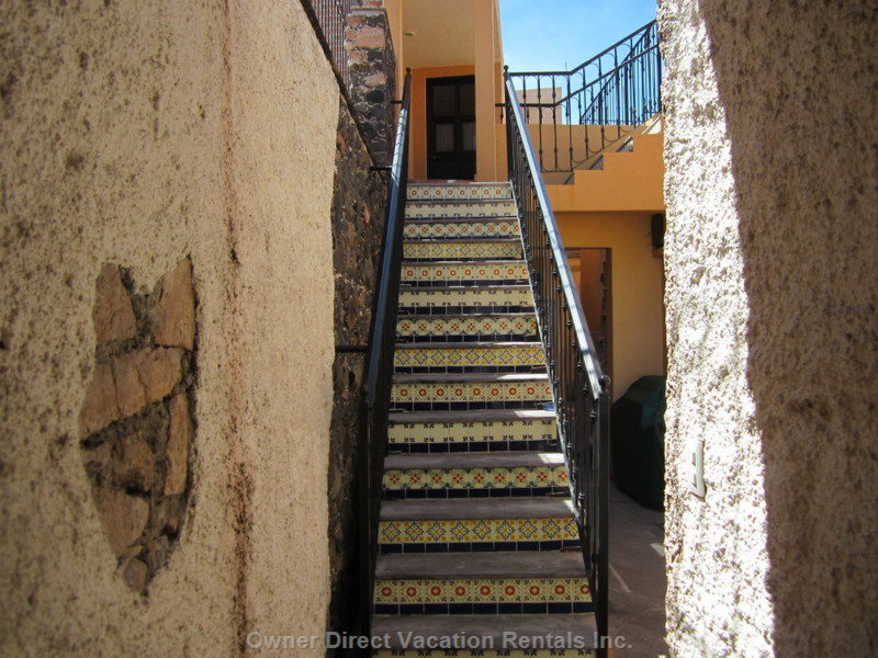 Hand-Painted, Tiled Stairway to Rooftop Terrace