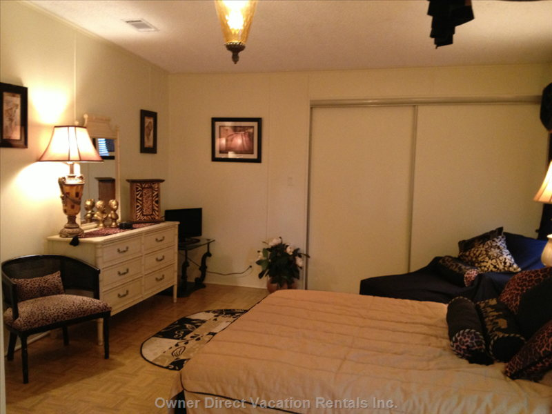 Large Bedroom with TV,  2 Closets and Lots of Drawer Space plus 3 Lamps