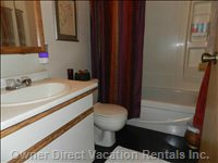 Full Bath with Tub and Shower.  All Linens Provided.