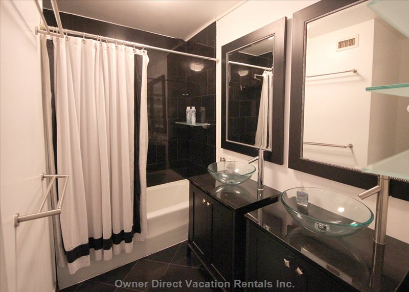 Bathroom with Dual Sinks, Bathtub & Shower