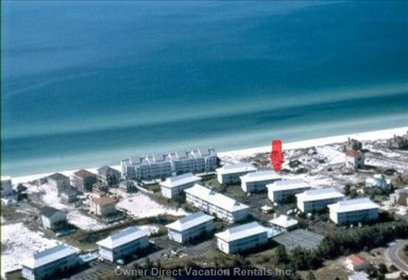 Aerial View of Beachside Villas and our Building Highlighted