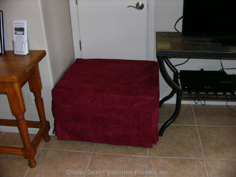 Ottoman that Converts to Extra Twin Bed in Living Room