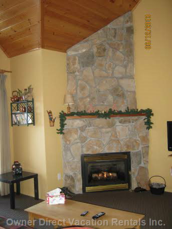 Gas Fireplace, Living Room with Vaulted Ceiling