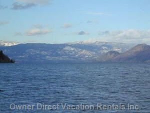 Magnificent View of Lake Okanagan - this is the View you Can Expect down at the Beach, from the Boat Dock.