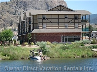 Okanagan River is beside the Riverside Court Condo