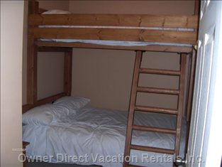 2nd Bedroom with Double Bunk Bed at Bottom and Twin at Top