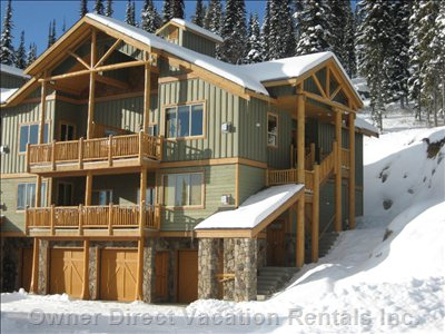 Silver Tip Landing (Top Floor, Right Hand Side) - 100% Ski in / Ski Out.  Side Window Looks out onto Born to Run (Blue Run).  Main Window Looks out onto Lit Pathway into Village with Stunning Views of Monashee Mountains and Beyond.