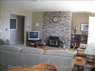Living Room with Gas Fireplace .