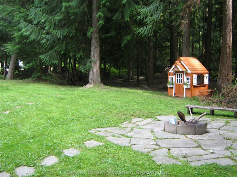 Backyard: Fire Pit and Children's Playhouse