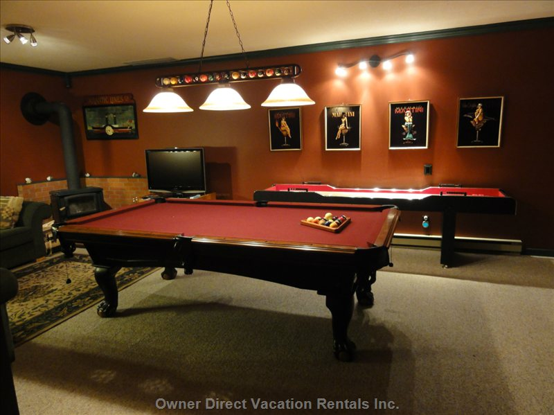 Pool Table and Shuffleboard - Games Room Area