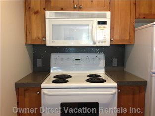 Convection Microwave and Stove, New Concrete Countertop and Backsplash