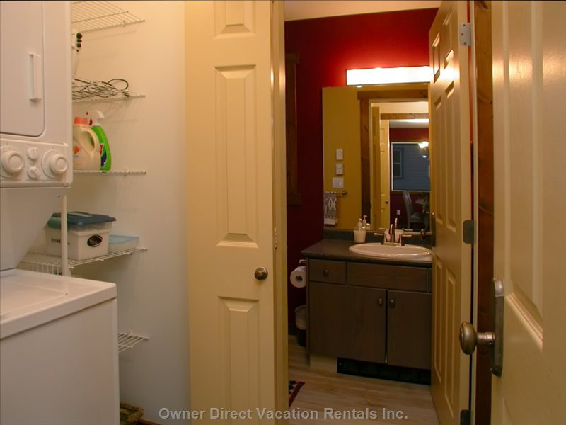 Washroom & Laundry - on the Main Level the Powder Room (2 Piece Washroom) and Separate Laundry Are Located Side by Each.  the Laundry Includes Full Size Washing and Drying Machines plus Ironing Board with Iron and Laundry Supplies Are Provided for your Convenience.