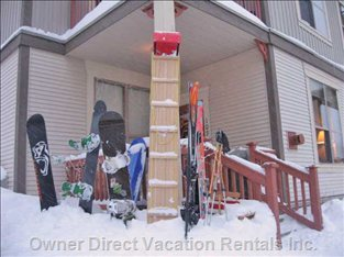 Easily Accessible Unit with Tobaganning out the Front Door. Deck is Great Place to Store your Skiis Etc Safely While you Have Lunch.