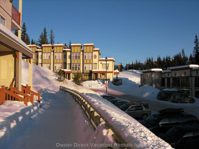 View from outside the Porch. - the Ski Sill Surrounds the Development.  Easy Access Parking.