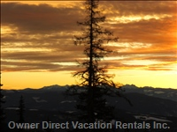 Sunset!  a Great Way to End your Ski Day Sipping Fine Okanagan Wine!
