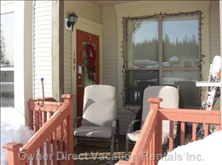 Veranda with Comfy, Padded Chairs, Bbq and Ski Locker