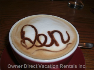 Special Coffee at the Den - the Den is a Popular, Cozy Restaurant  to Have Lunch.