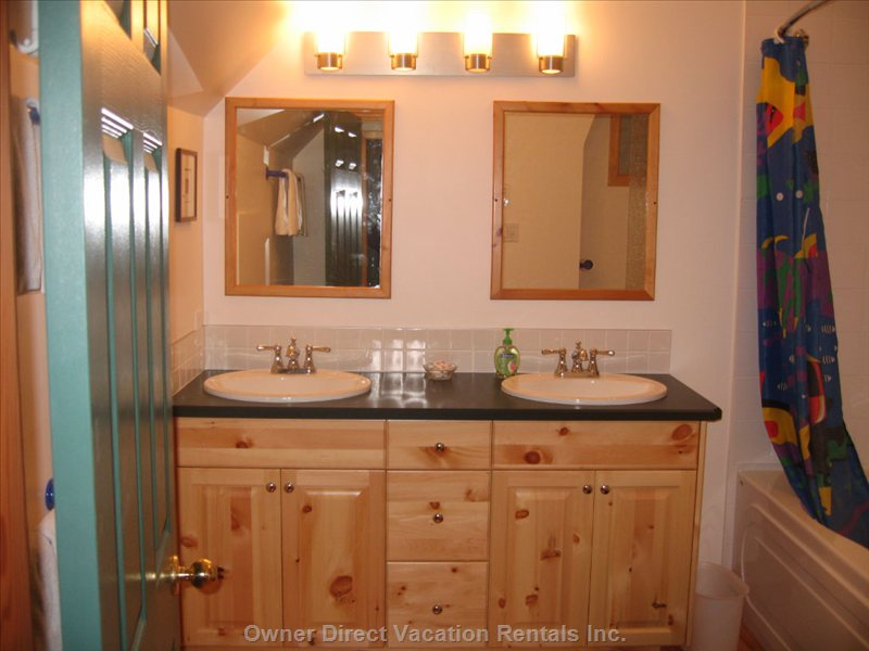 Newly Renovated Upstairs Ensuite - this Chalet has Two Double Bedrooms each with an Ensuite Bathroom