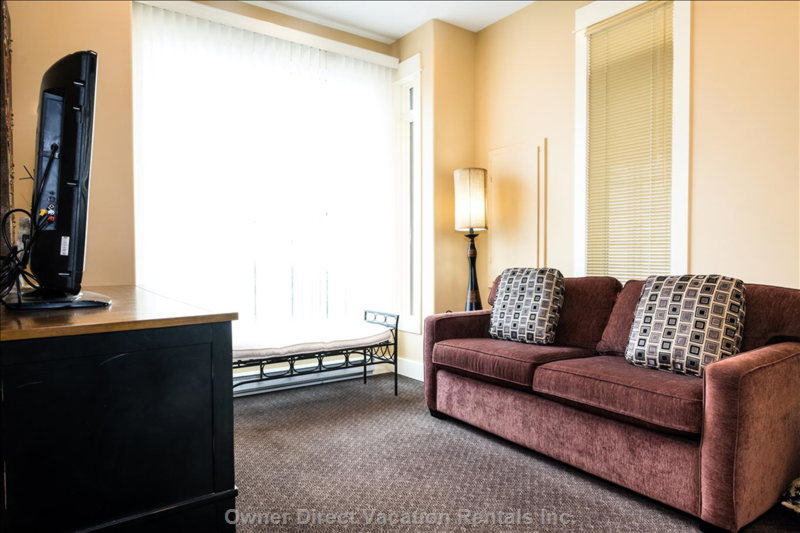 The Tv Room on the Main Floor has Views of Silver Queen, Tube Town and has a Sofa Sleeper for Extra Sleeping Space.