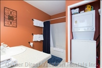 The Bathroom has a Washer/Dryer to Accommodate your Laundry Needs.