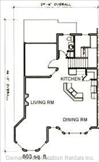 Upper Floor Plan with Living Room, Kitchen, and Hot Tub Area