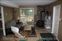 Lower Living Area with Wood Stove