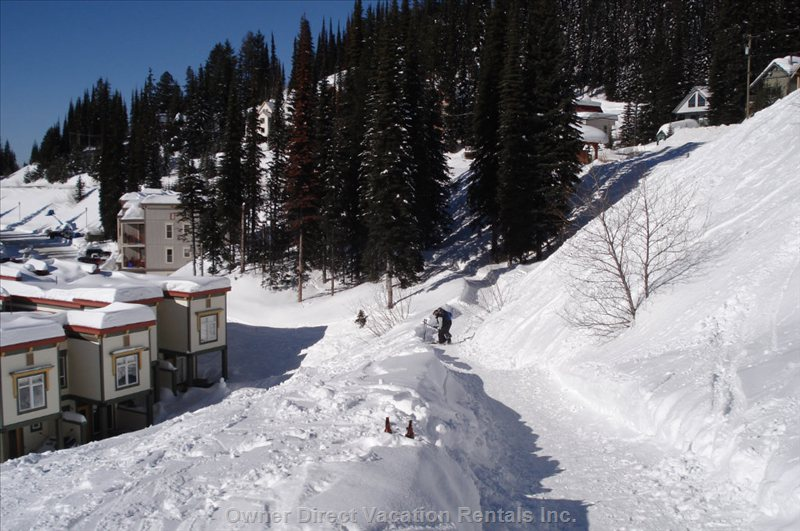 Path from Bottom of Christmas Bowl to our Condo - If you Ski down the Christmas Bowl, There is a Bridge that Crosses the Road, after the Bridge Take a Right onto this Path to the Condo.