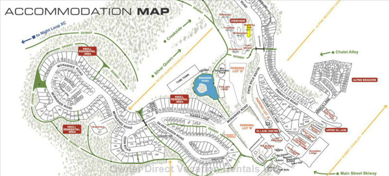 Creekside Area Map. Mountain Legacy is Highlighted in Yellow.
