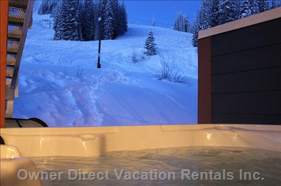 Enjoy the View of the Slopes While Relaxing in the Hot Tub