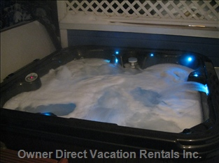 Private Hot Tub on Covered Deck. - Literally Two Steps outside the Kitchen Door. Simply a Joy after a Long, Hard Day on the Slopes!