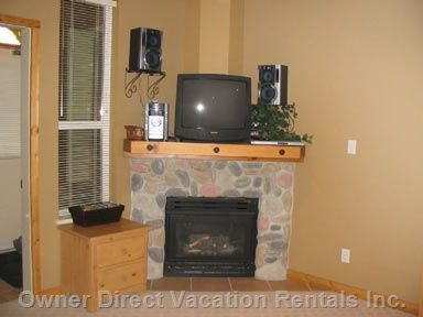 Gas Fireplace and TV.