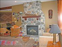 Gas Fireplace, River Rock Wall