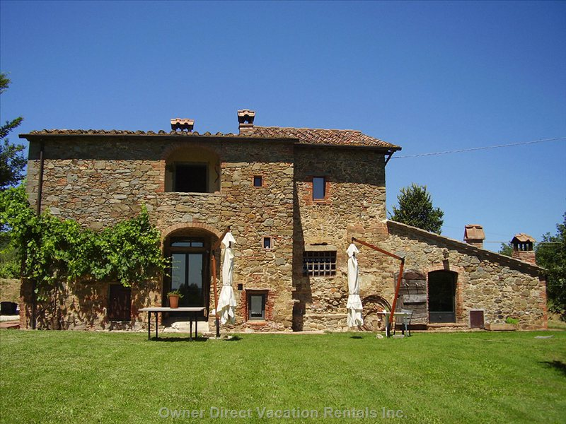 The Front View of the Villa in Tuscany