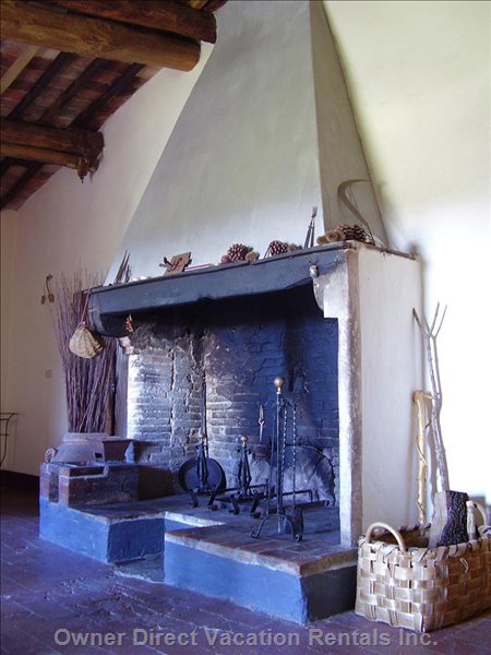 Old Tuscan Fireplace on the First Floor of the Villa