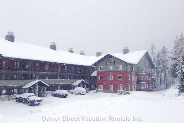 If you are Renting this for Ski Season...We Hope you Get this much Snow Coming Down. View of the Building from Where You'll Drive In.