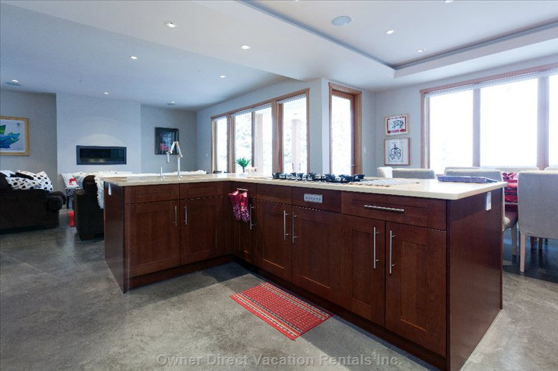 "Island with 36"" Gas Cooktop, Food Prep and Entertainment Sink - Works Just as well as a Wine Cooler When Filled with Snow!"