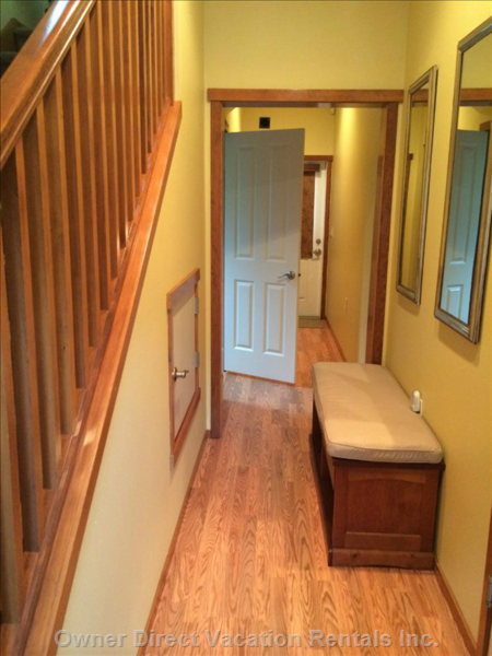 Downstairs Entry Hallway with 1/2 Bathroom.