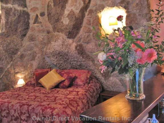 Queen Bed with Ancient Rock behind