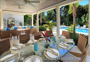 The Covered Terrace is Perfect for Dining AL Fresco with a View of the Lovely Pool Deck