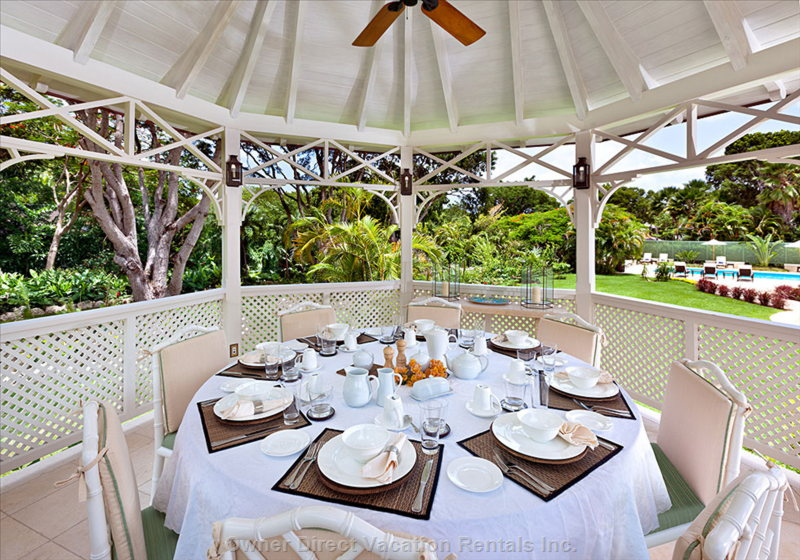 Enjoy Breakfast in the Gazebo (Connected to the House by a Short Walkway) with Views of the Pool and Gardens