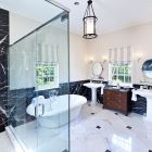 Master Suite Bathroom is Elegantly Luxurious and Features Guest Robes and Rain Shower