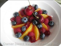 Fresh Fruit Plate Constructed for Breakfast Service.