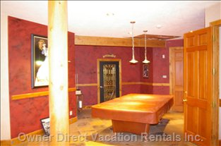 Lower Floor Game Room with Pool Table, Steam Room and Wine Cellar