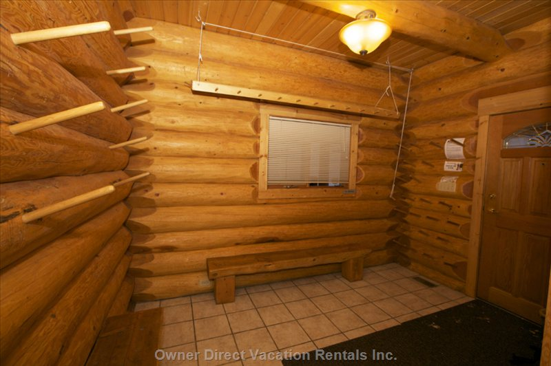 Large Mudroom and Storage Area for Wet Clothes and Ski Equipment