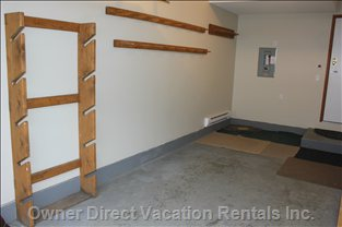 Garage - Ski, Snowboard, Helmet and Clothes Racks.  Bench and Beverage Fridge