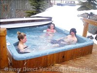 Kick Back in the Outdoor Hot Tub after a Day of Skiing. - Cedar Deck, Close to House, Overlooking Ski Runs.