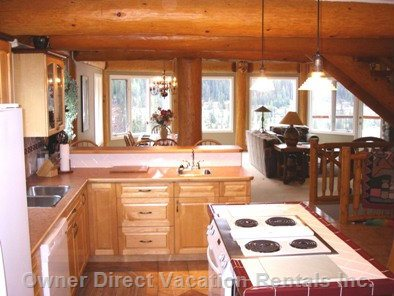 Kitchen Area with Amenities for the Best of Chefs! - Fridge with Ice, Bar Fridge, Bar Sink, Table Overlooking Ski Runs and Hot Tub.