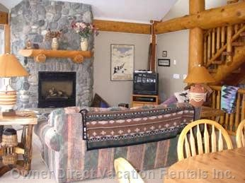 Floor to Ceiling River Rock Fireplace, Lots of Room to Enjoy