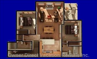 Floor Plan - Top Floor - Vaulted Ceilings in Living Room